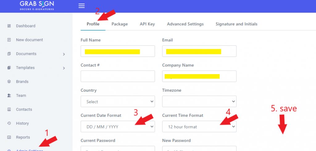 change date and time format grabsign